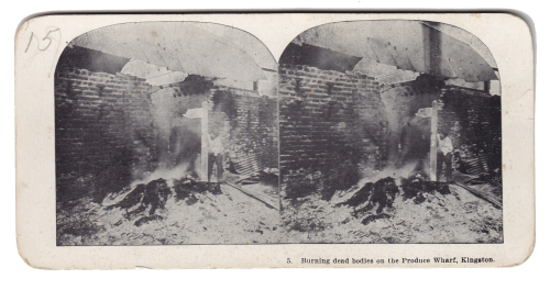 Burning dead bodies on the Produce Wharf, Kingston.